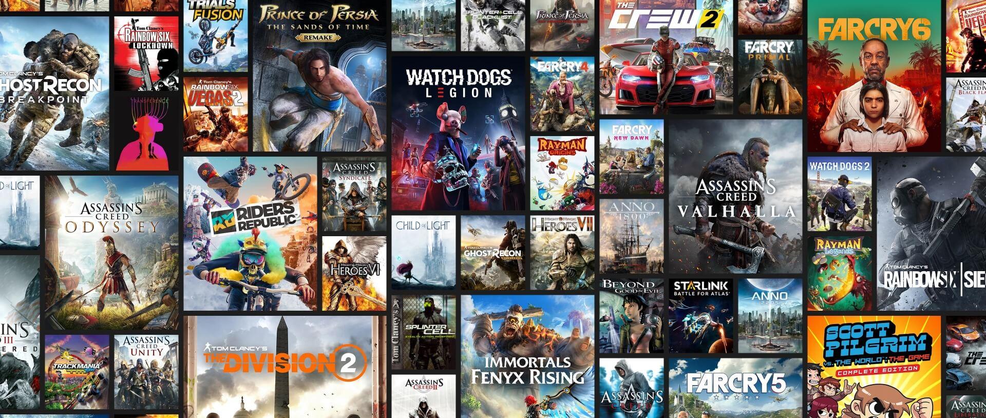 Mosaico che rappresenta le ultime novità Ubisoft e la libreria di più di 100 giochi inclusi nell'abbonamento Ubisoft+