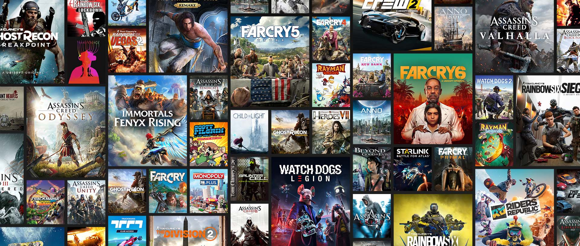Mosaic representing the library of games available in Ubisoft+ subscription
