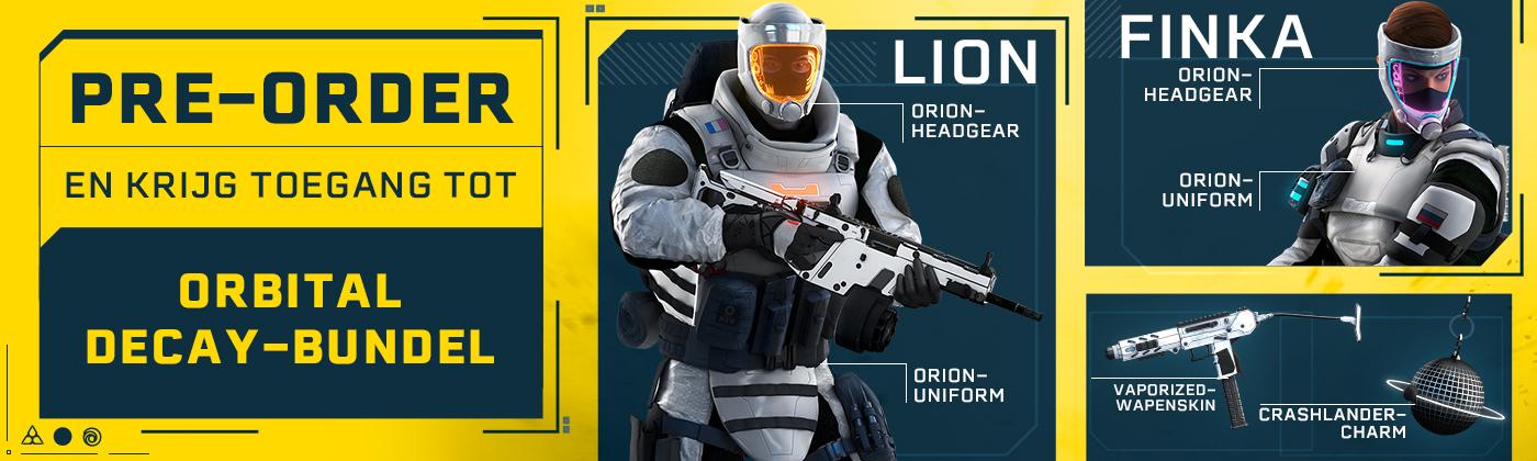 Pre-order en krijg toegang tot twee exclusieve outfits voor Finka en Lion, de Vaporized wapenskin en de Crashlander charm.