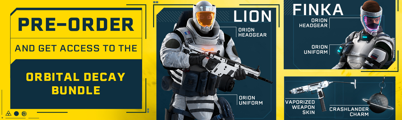 Pre-order and get access to two exclusive outfits for Finka and Lion, the Vaporised weapon skin and the Crashlander charm.