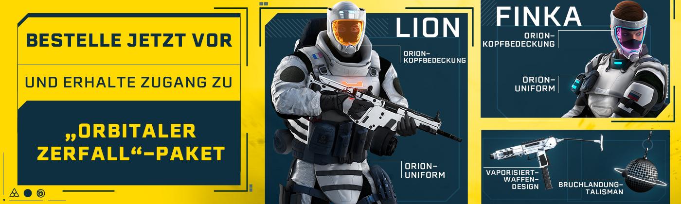 Bestelle jetzt vor und erhalte die Orion-Uniform (exklusiv für Finka und Lion), das universelle Vaporisiert-Waffen-Design sowie den Bruchlandung-Talisman.