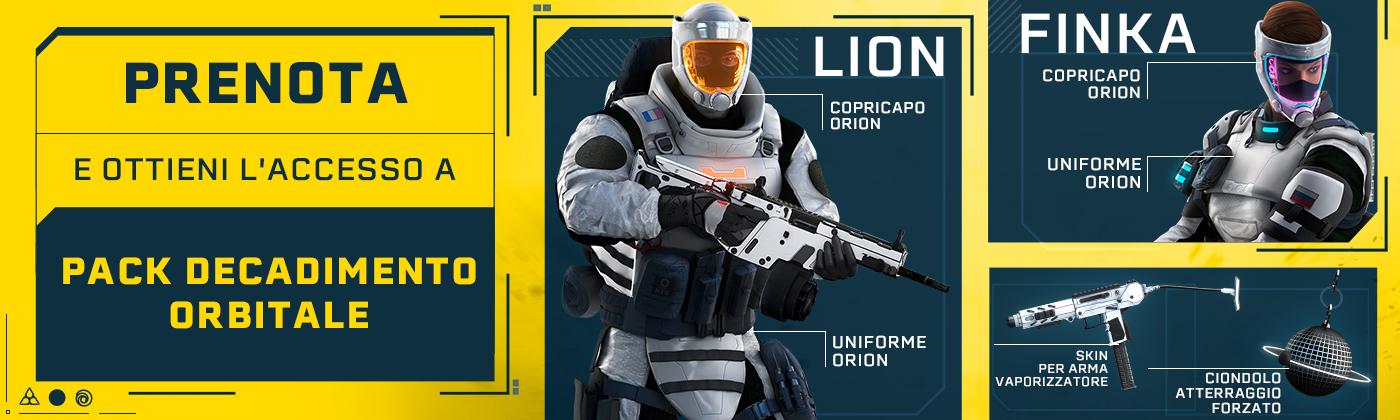 Prenota ora e ottieni due outfit esclusivi per Finka e Lion, la skin per arma Vaporizzato e il ciondolo Atterraggio Forzato